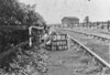 SD650138B, Man marking Ordnance Survey minor control revision point with an arrow in 1940s