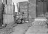 SD640123B, Man marking Ordnance Survey minor control revision point with an arrow in 1940s