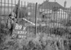 SD630289X, Man marking Ordnance Survey minor control revision point with an arrow in 1950s