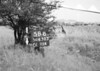 SD630358B, Man marking Ordnance Survey minor control revision point with an arrow in 1940s