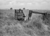 SD640331A, Man marking Ordnance Survey minor control revision point with an arrow in 1940s