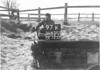 SD650397K, Man marking Ordnance Survey minor control revision point with an arrow in 1940s