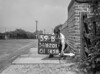SD620159B, Man marking Ordnance Survey minor control revision point with an arrow in 1950s
