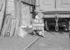 SD640096B, Man marking Ordnance Survey minor control revision point with an arrow in 1940s