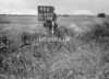 SD640344A, Man marking Ordnance Survey minor control revision point with an arrow in 1940s