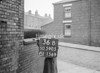 SD590536B, Man marking Ordnance Survey minor control revision point with an arrow in 1950s