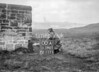 SD590500A, Man marking Ordnance Survey minor control revision point with an arrow in 1950s
