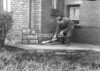 SD590387A, Man marking Ordnance Survey minor control revision point with an arrow in 1950s