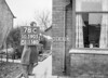 SD590578C, Man marking Ordnance Survey minor control revision point with an arrow in 1950s