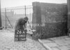 SD590526A, Man marking Ordnance Survey minor control revision point with an arrow in 1950s