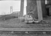 SD590303A, Man marking Ordnance Survey minor control revision point with an arrow in 1950s