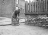 SD590536A, Man marking Ordnance Survey minor control revision point with an arrow in 1950s
