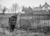 SD590627A, Man marking Ordnance Survey minor control revision point with an arrow in 1950s