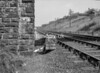 SD570870L, Man marking Ordnance Survey minor control revision point with an arrow in 1950s
