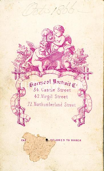 Leach29R, Reverse of 1860s carte de viste by the Liverpool Portrait Company