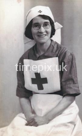 Red Cross nurse in WW2 uniform