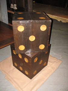 Giant Dice! which can be used as side table or ornamental. made of two tone antique hard wood.