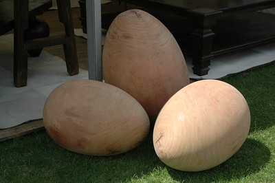 Giant wood eggs, made from old tree stumps, perraira wood. on show at the Cowdray polo ground in southern England. Design by Maison e Maison