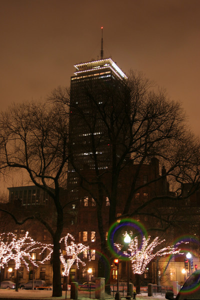 """the Prudential Tower, in Boston, MA.<br /> <br /> the antenna / rod atop the tower has different """"color modes"""" to let people know the weather."""