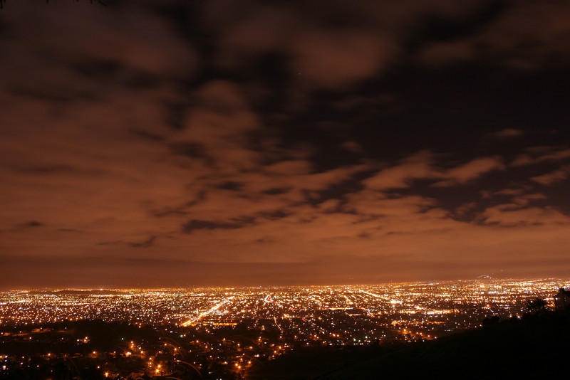 san jose is blessed / cursed with orange streetlights, as depicted here.<br /> <br /> i've heard that it's because of the james lick observatory, to cut down on glare on the telescopes... or something.