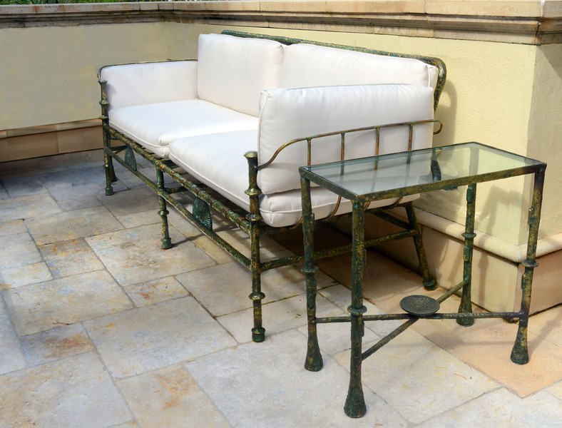 Giacometti style Bronze outdoor sofa and side table