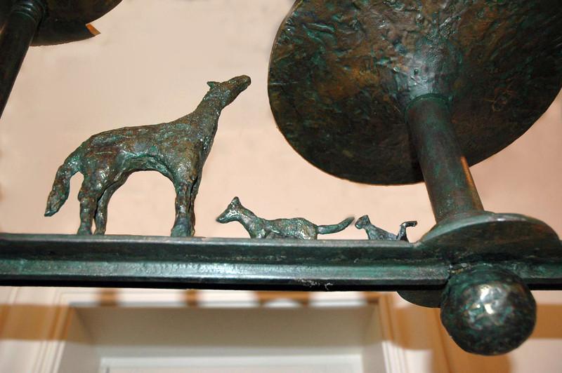 Bronze chandelier details of animal figures molded by Marcel Maison.