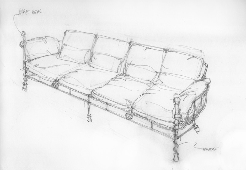 Sketch for outdoor sofa in Bronze Giacometti style
