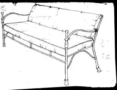 Original sketch for new bronze sofa in Giacometti style.