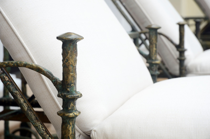 Detail of Bronze outdoor recliner