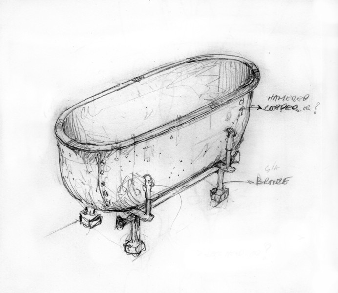 Sketch for Bronze and copper planter