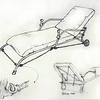 Original sketch for outdoor recliner-chaise longue in Giacometti style