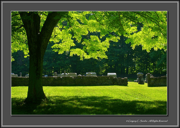 Playing with HDR on this cover shot for gallery #4 in my Rural Cemeteries of SW Ohio series.  I was finished for the morning as I walked to my car and turned around for some reason to get one wide-view look at the cemetery before packing it in.  As I did, I saw this beautiful backlight illumination of the leaves of this tree marking the entrance to the Caesar Creek Cemetery in Warren County, Ohio.  Check out the link to the full gallery and the other galleries in the series.