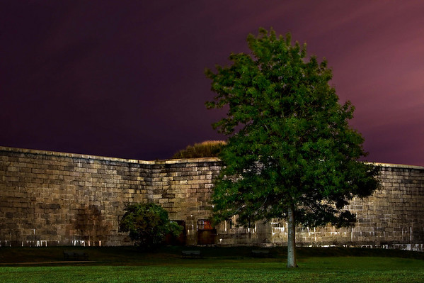 "<font size=""3""><I>Midnight Sentry</I></font> <font size=""1"">Fort Independence exterior at Castle Island <br>South Boston, Mass.</font><br>"
