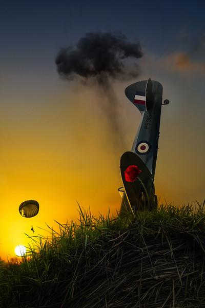 Poetry of Silence | Spitfire Crash Smoke Rises Pilot on Parachute Narrow Escape