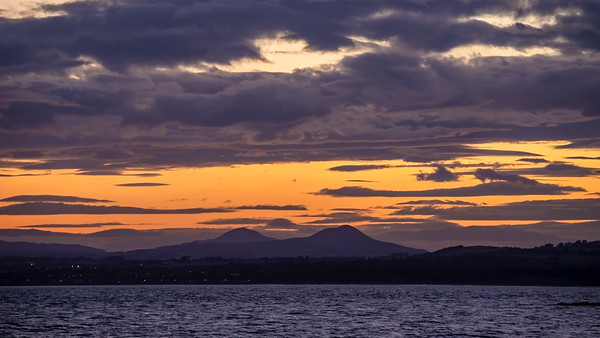 Sunset behind the Paps of Fife