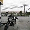 gassing up in the morning, you can barely see the hill that i'm about to climb.