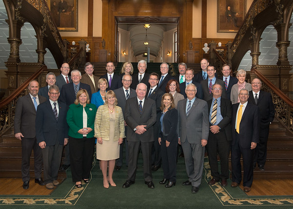 A farewell group photo of Interim PC Leader Jim Wilson with Caucus.