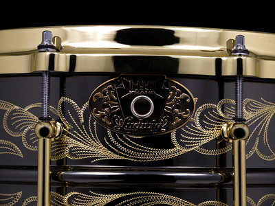 Ludwig,  Snare, Drum, 100th., Anniversay, Black, Beauty, Engraved, Engraving, Gold, John, Aldridge