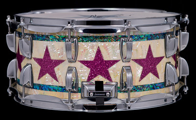 Ludwig, C&C, Custom, Shop, Snare, Drum, Ringo, Starr, Abalone, Purple, Handmade, Todd, Trent, Jeff, Chonis, Unique, One, Kind, Autograph,