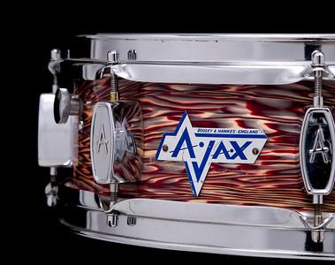 Ajax, vintage, snare, drum, Burgundy, Ripple, Boosey, Hawkes, Edgeware, London