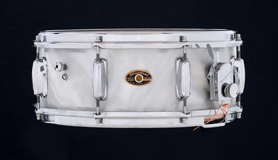 Slingerland, Vintage, Snare, Drum, Artist, Model, White, Satin, Flame