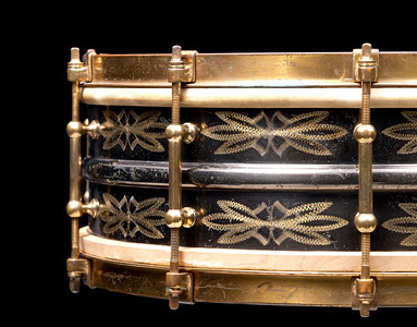 Ludwig, Black, Beauty, DeLuxe, Standard, flower, 1929, engraving, snare