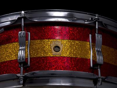 Ludwig, Jazz, Festival, Vintage, Snare, Drum, Keystone, Red, Gold, Sparkle