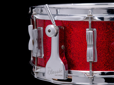 Ludwig, Super, Classic, Vintage, Snare, Drum, Red, Sparkle