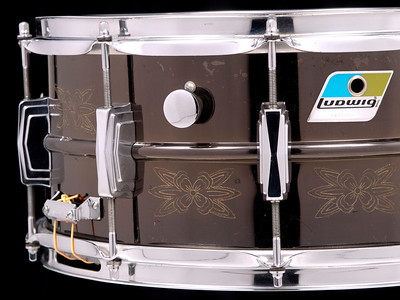 Ludwig, Black, Beauty, Vintage, Snare, Drum, B/O, Engraved, Blue, Olive