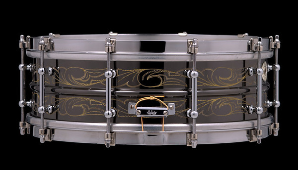 Ludwig, Black, Beauty, Vintage, Snare, Drum, Oval, tube, Scroll, Engraving, Engraved, Custom, John, Aldridge