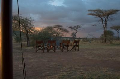 Camp fire at Serengeti Kati Kati Tented Camp