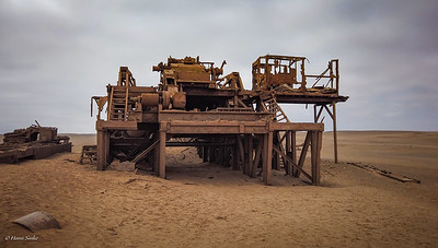 An abandoned oil drilling rig that was operational in the late '60s and early 70's.