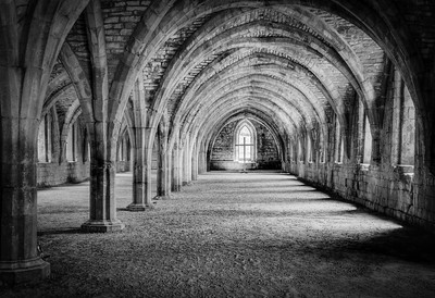 'Within the Great Cloister' - Fountains Abbey, England