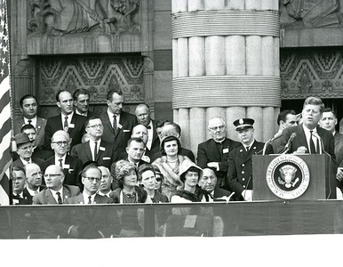 President Kennedy speaking at Buffalo City Hall
